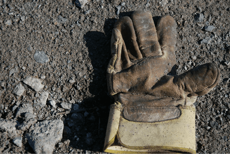 Work glove on the ground