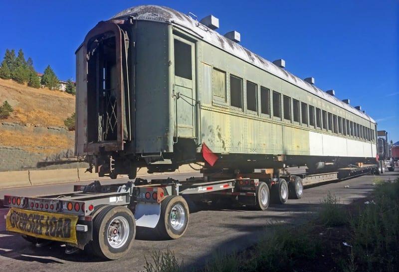 XL stretch trailer hauling train car | NessCampbell